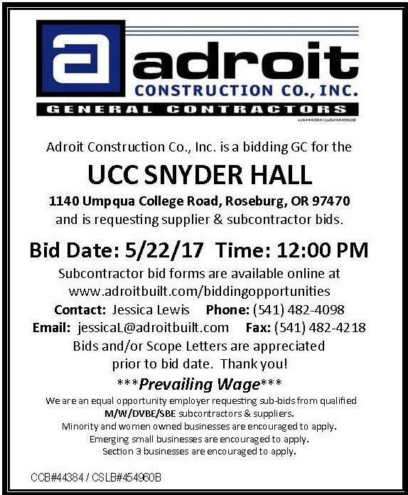 Shasta Builders Exchange AD UCC Snyder Hall