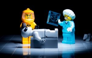 Lego Minifigs Examine Alien with Bloodborne Pathogens