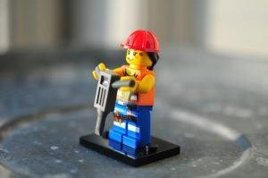 Lego Minifig Operates Jackhammer - Risks Hearing loss